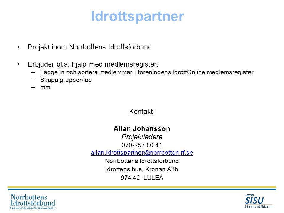 Idrottspartner Projekt inom Norrbottens Idrottsförbund
