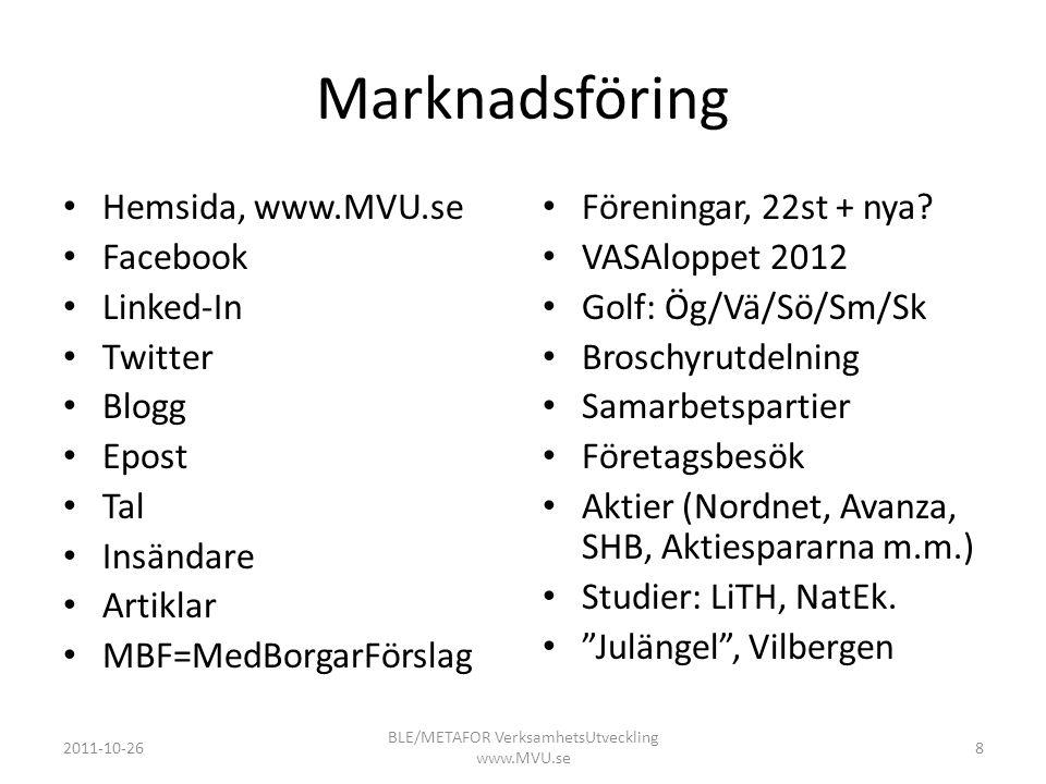 BLE/METAFOR VerksamhetsUtveckling www.MVU.se