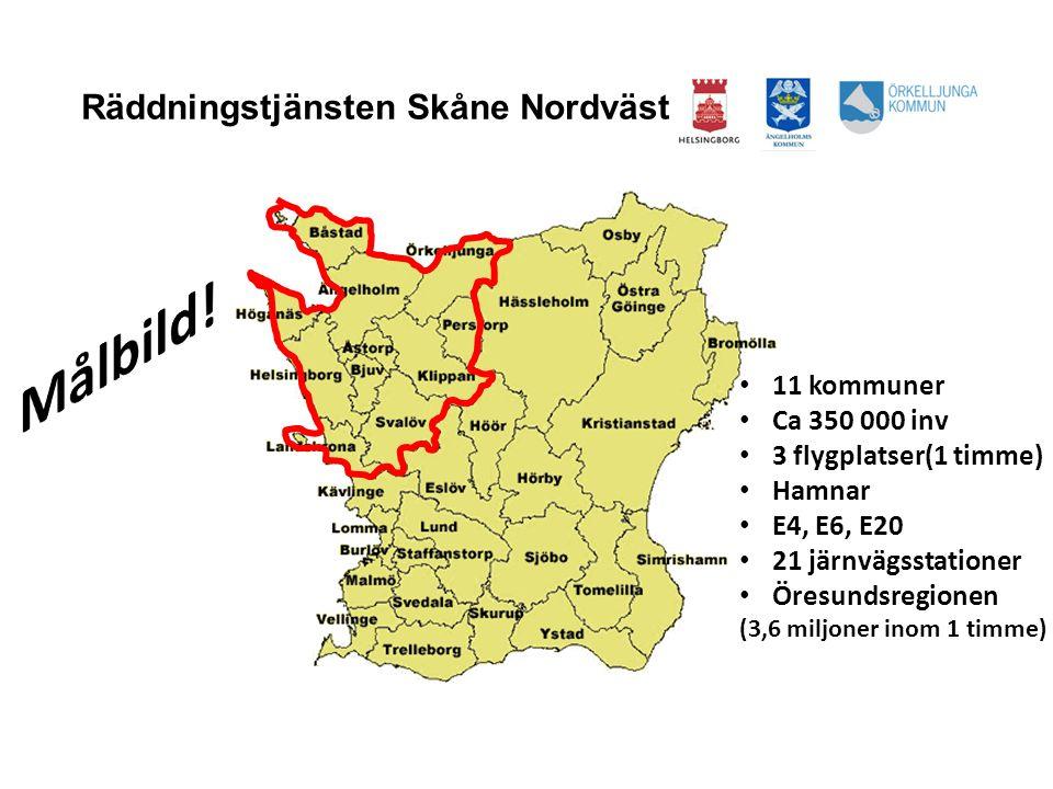 Målbild! Räddningstjänsten Skåne Nordväst 11 kommuner Ca 350 000 inv