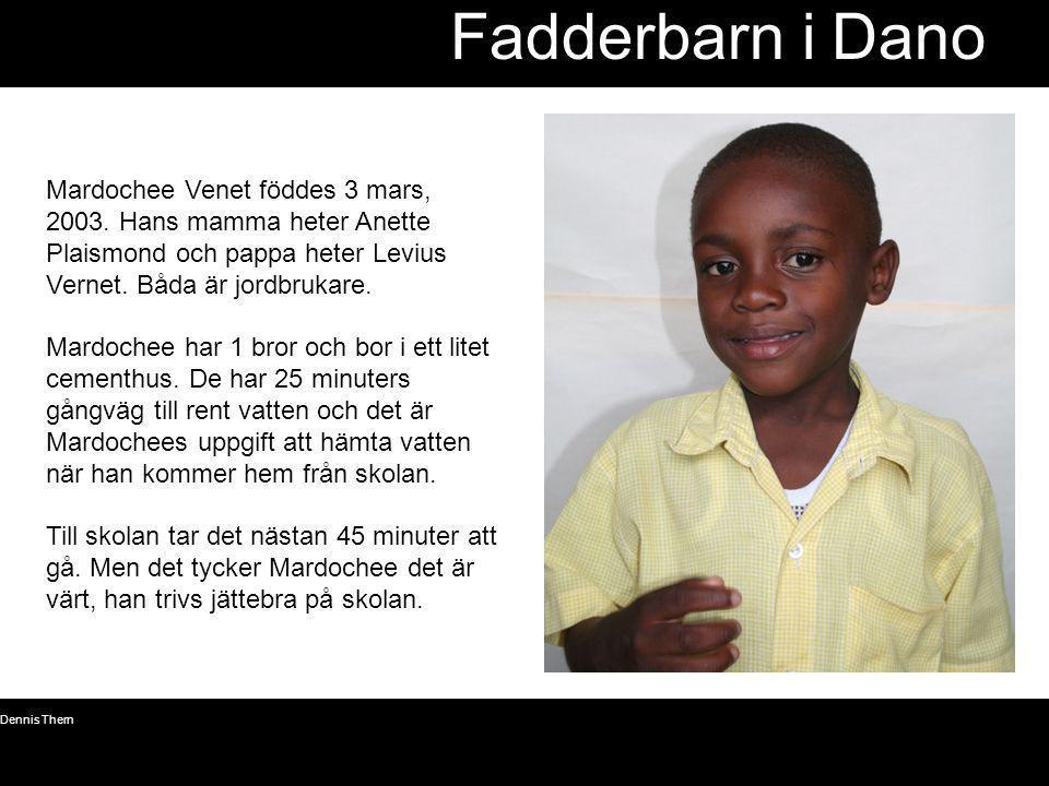 Fadderbarn i Dano Mardochee Venet föddes 3 mars, 2003. Hans mamma heter Anette Plaismond och pappa heter Levius Vernet. Båda är jordbrukare.
