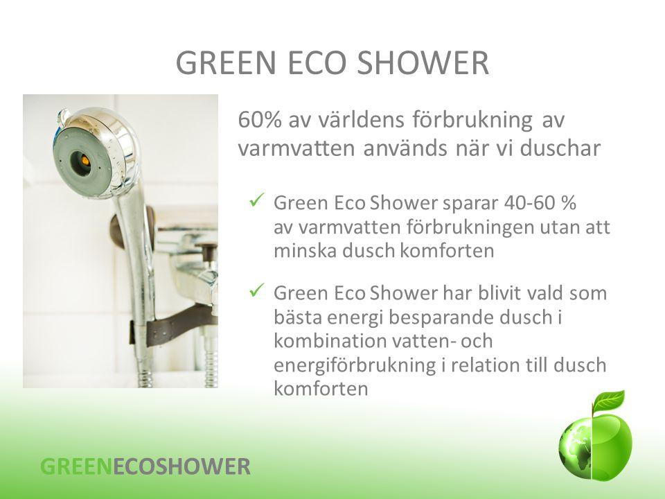 GREEN ECO SHOWER 60% av världens förbrukning av varmvatten används när vi duschar.