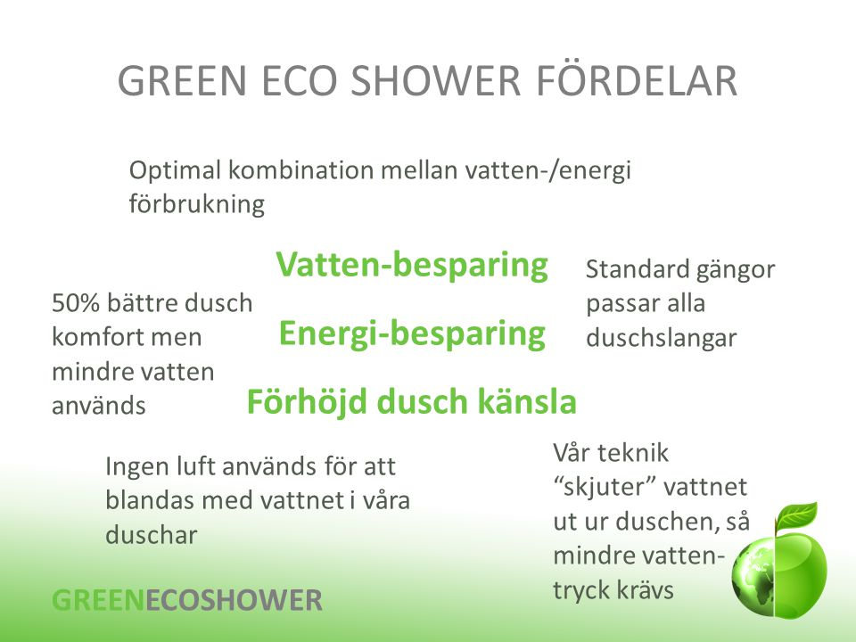 GREEN ECO SHOWER FÖRDELAR