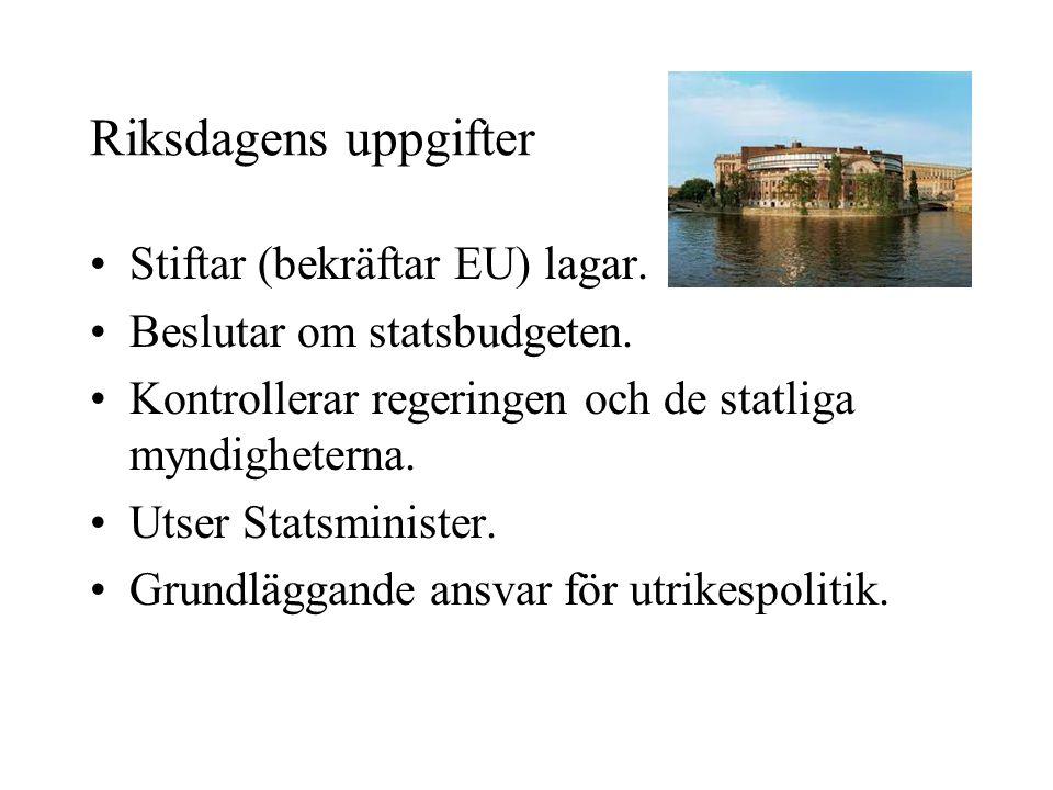 Riksdagens uppgifter Stiftar (bekräftar EU) lagar.