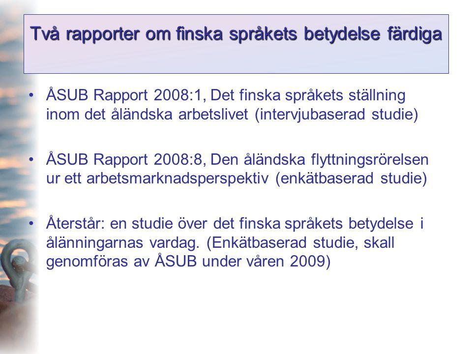Två rapporter om finska språkets betydelse färdiga