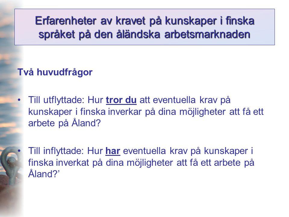 Erfarenheter av kravet på kunskaper i finska språket på den åländska arbetsmarknaden