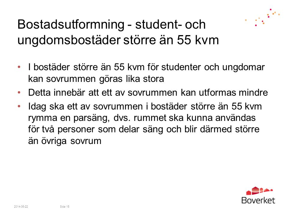 Bostadsutformning - student- och ungdomsbostäder större än 55 kvm