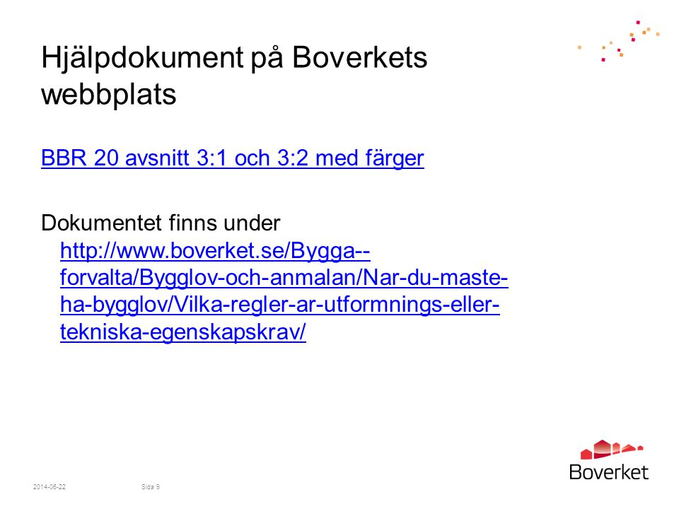 Hjälpdokument på Boverkets webbplats