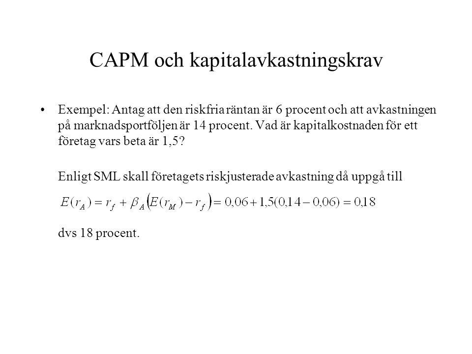 CAPM och kapitalavkastningskrav