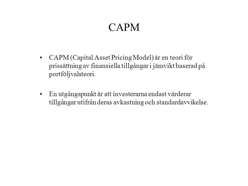 CAPM CAPM (Capital Asset Pricing Model) är en teori för prissättning av finansiella tillgångar i jämvikt baserad på portföljvalsteori.
