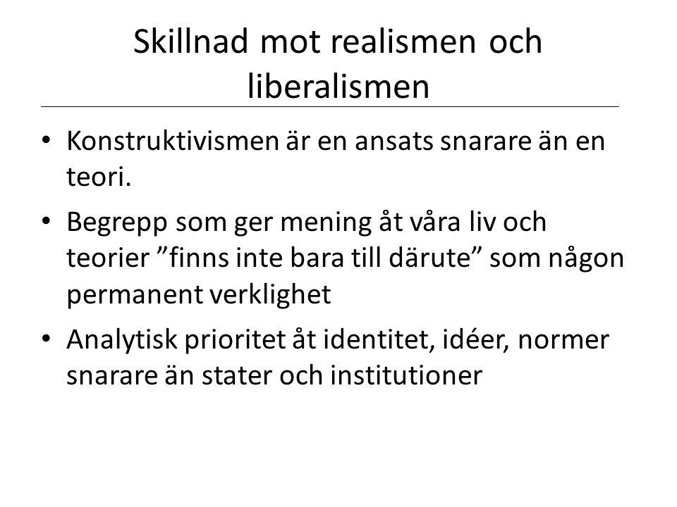Skillnad mot realismen och liberalismen