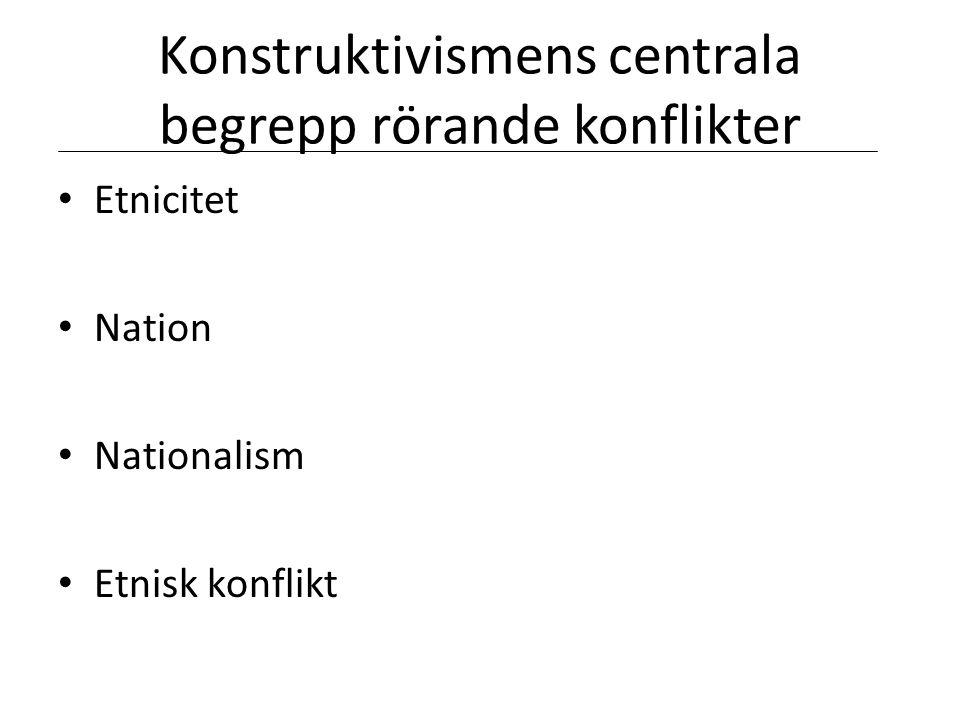 Konstruktivismens centrala begrepp rörande konflikter