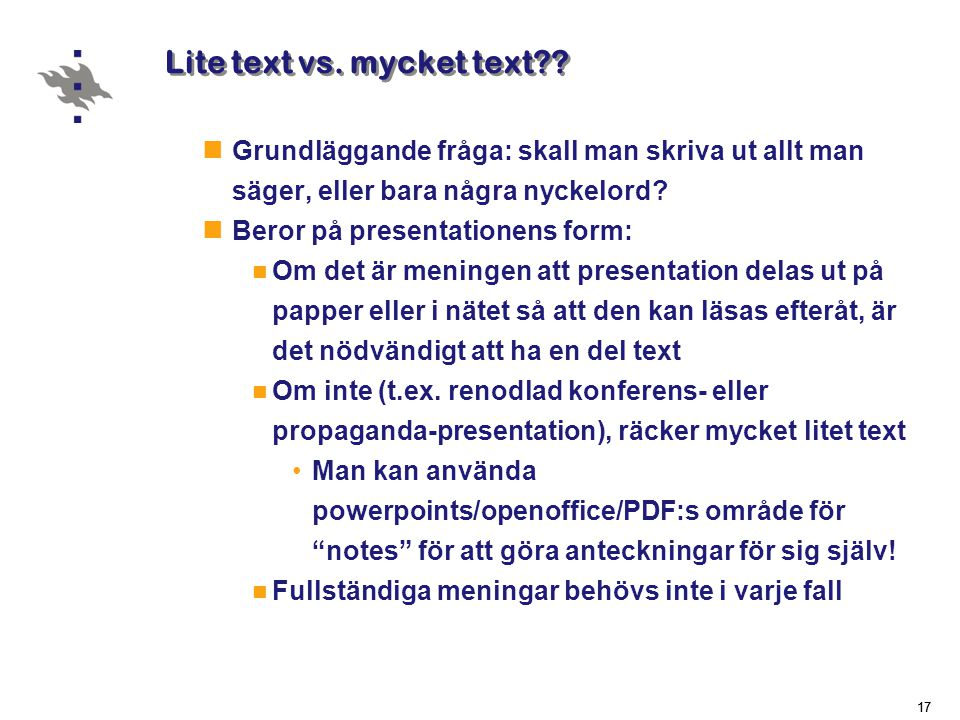 Lite text vs. mycket text