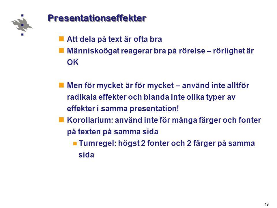 Presentationseffekter