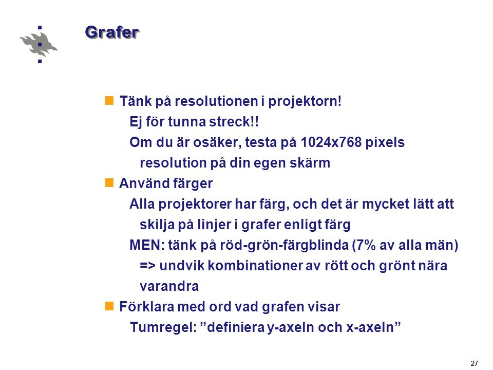 Grafer Tänk på resolutionen i projektorn! Ej för tunna streck!!