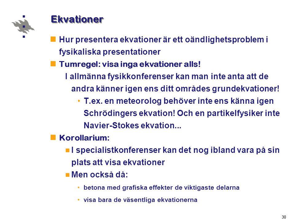 Ekvationer Hur presentera ekvationer är ett oändlighetsproblem i fysikaliska presentationer. Tumregel: visa inga ekvationer alls!