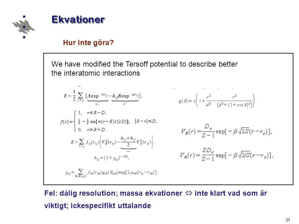 Ekvationer Hur inte göra
