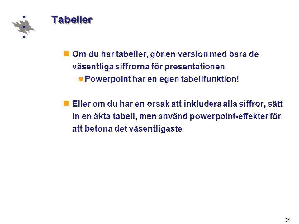 Tabeller Om du har tabeller, gör en version med bara de väsentliga siffrorna för presentationen. Powerpoint har en egen tabellfunktion!