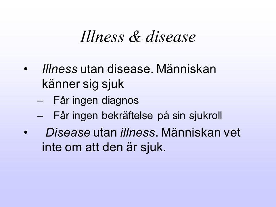 Illness & disease Illness utan disease. Människan känner sig sjuk