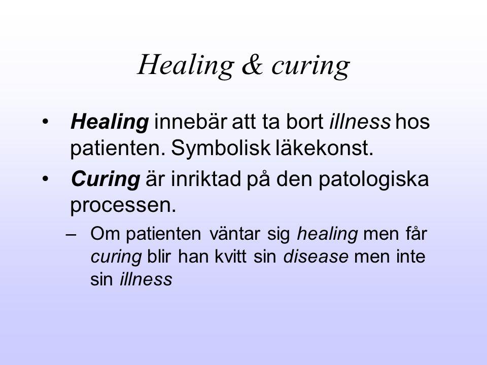 Healing & curing Healing innebär att ta bort illness hos patienten. Symbolisk läkekonst. Curing är inriktad på den patologiska processen.