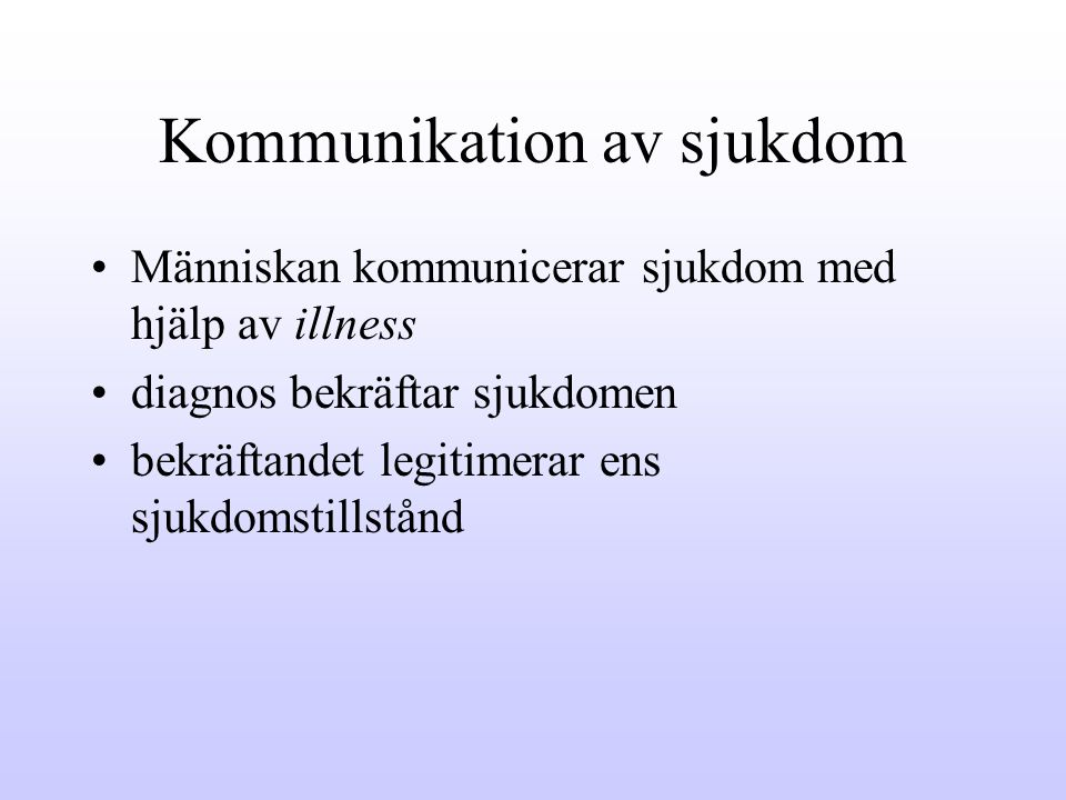 Kommunikation av sjukdom