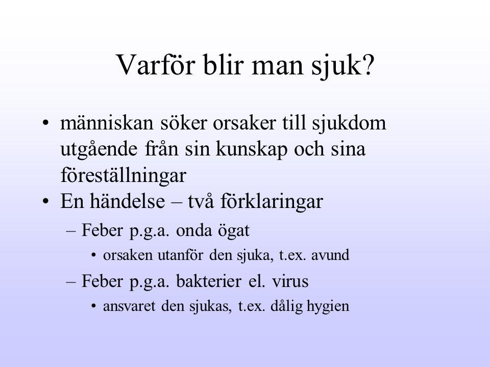 Varför blir man sjuk människan söker orsaker till sjukdom utgående från sin kunskap och sina föreställningar.