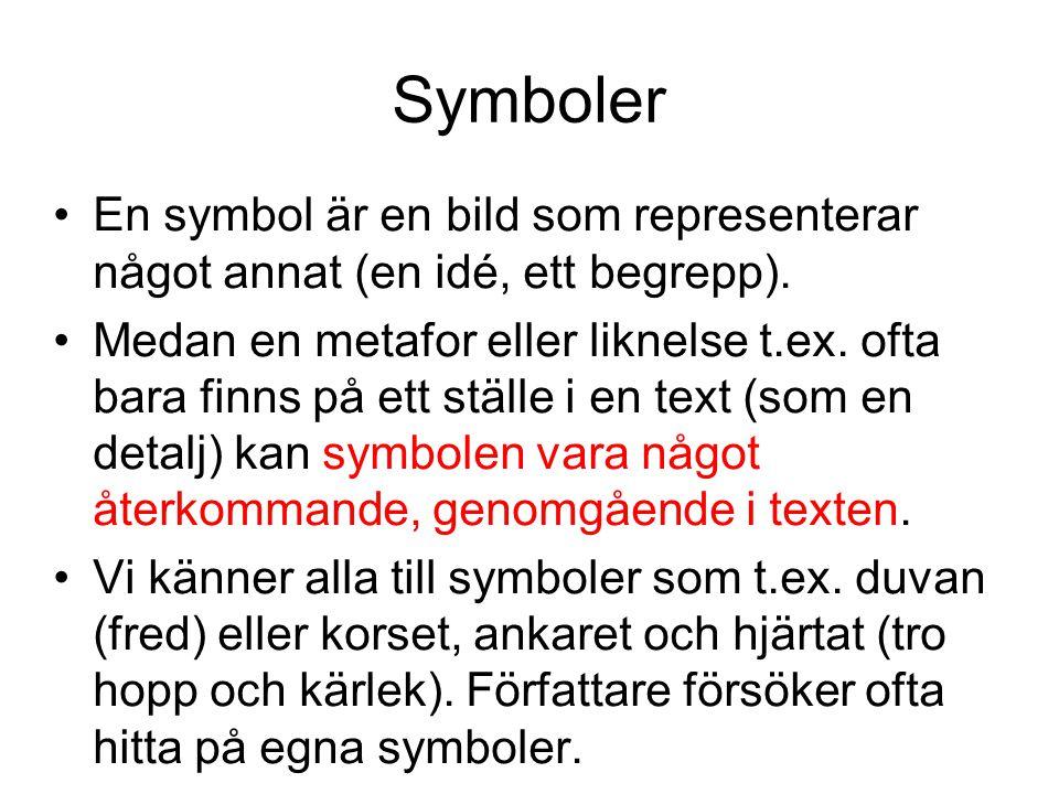 Symboler En symbol är en bild som representerar något annat (en idé, ett begrepp).