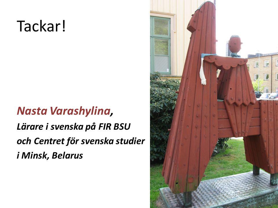 Tackar! Nasta Varashylina, Lärare i svenska på FIR BSU