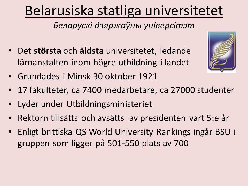 Belarusiska statliga universitetet Беларускі дзяржаўны універсітэт