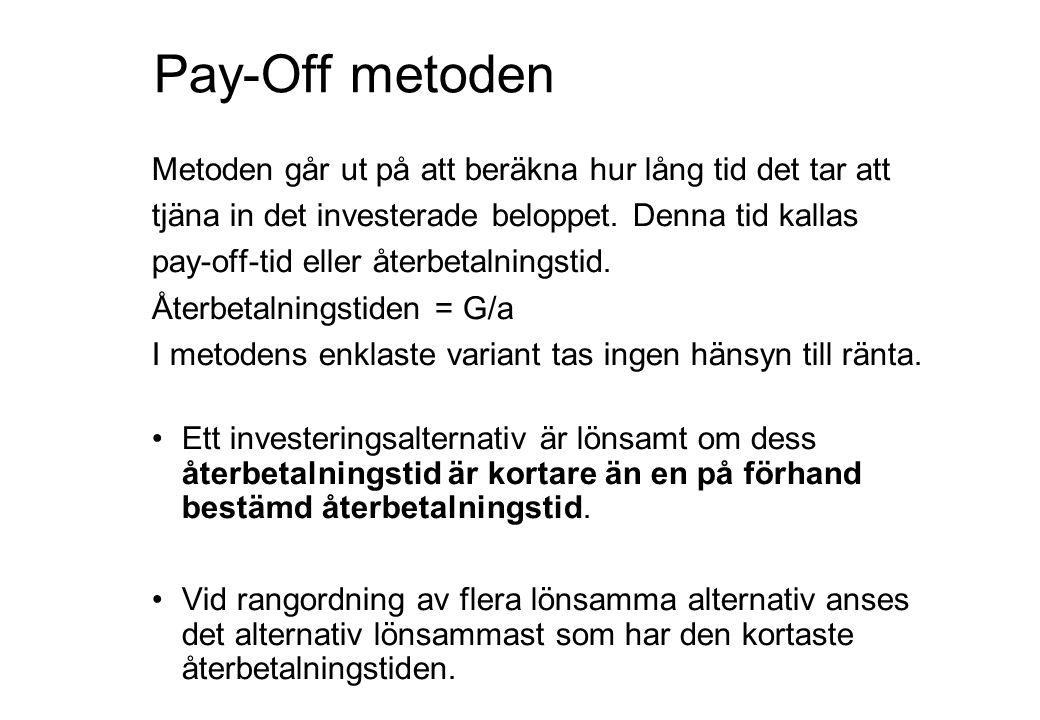 Pay-Off metoden Metoden går ut på att beräkna hur lång tid det tar att