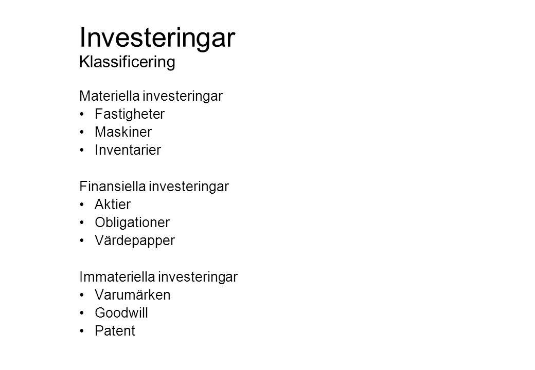 Investeringar Klassificering