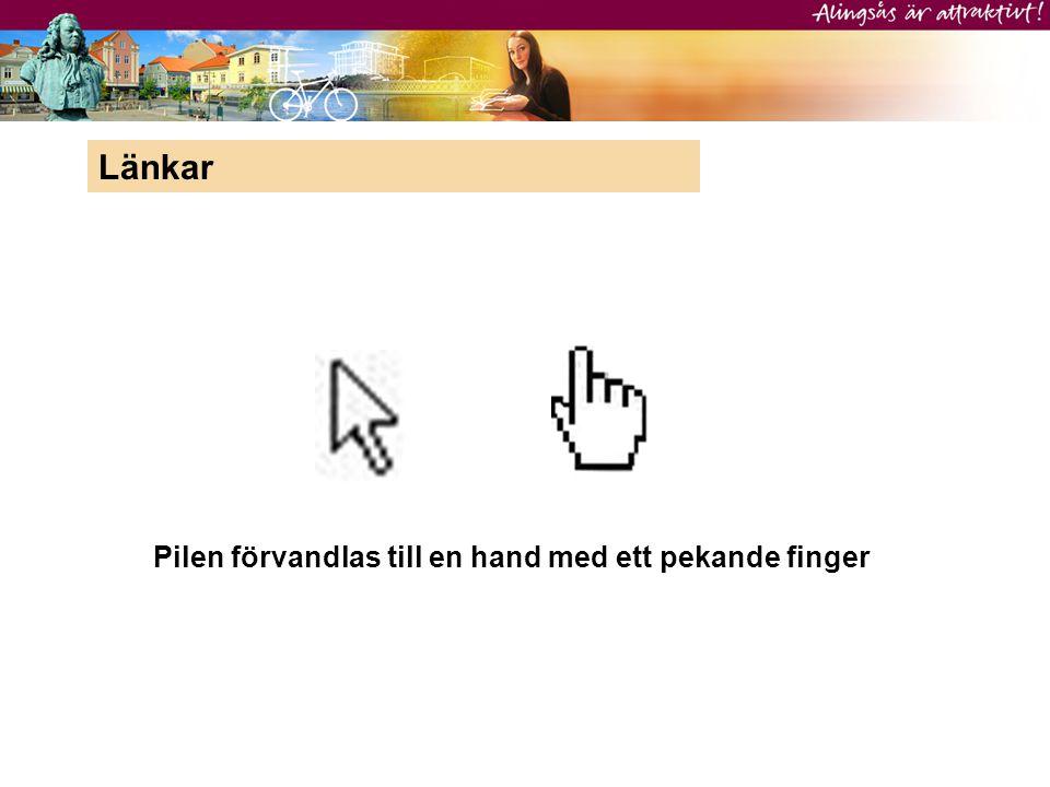 Pilen förvandlas till en hand med ett pekande finger