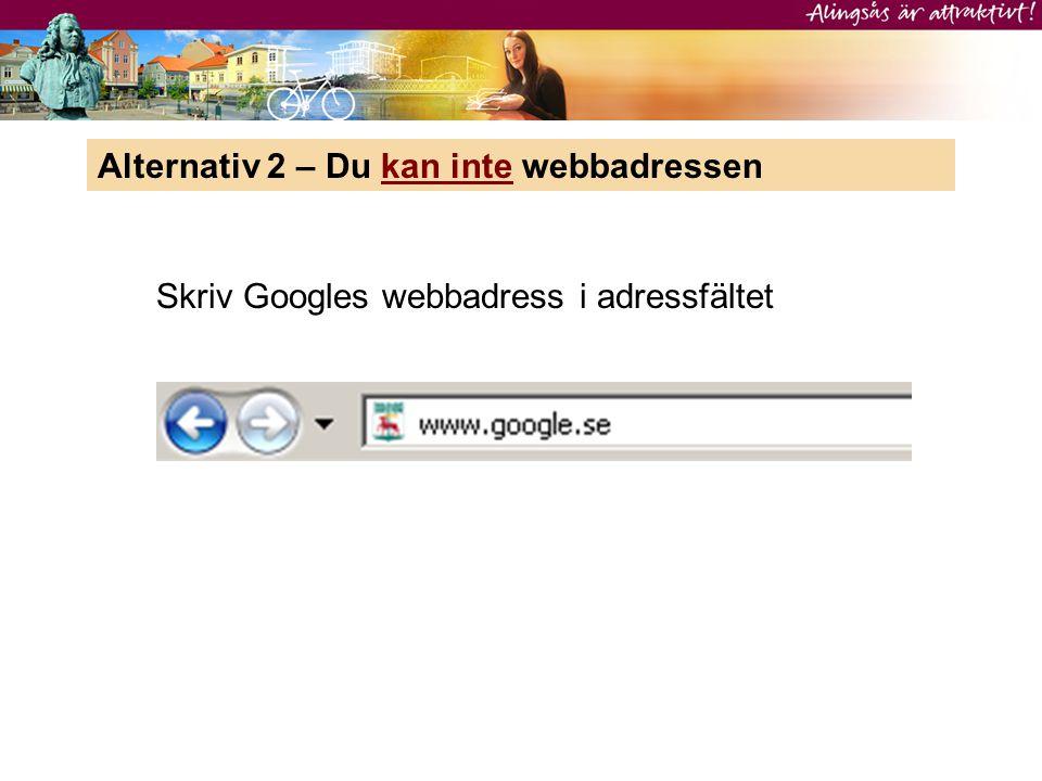 Skriv Googles webbadress i adressfältet