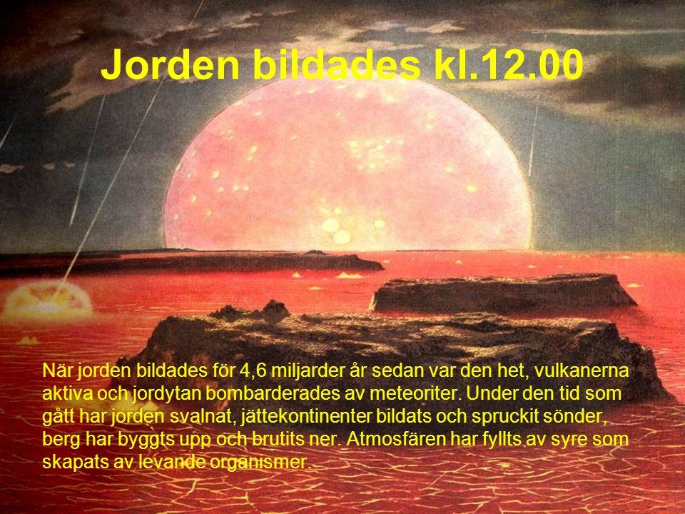 Jorden bildades kl.12.00 När jorden bildades för 4,6 miljarder år sedan var den het, vulkanerna.