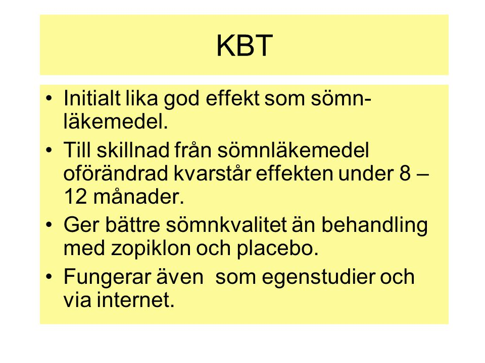 KBT Initialt lika god effekt som sömn-läkemedel.