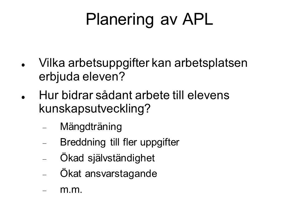 1414 1414. Planering av APL. Vilka arbetsuppgifter kan arbetsplatsen erbjuda eleven Hur bidrar sådant arbete till elevens kunskapsutveckling