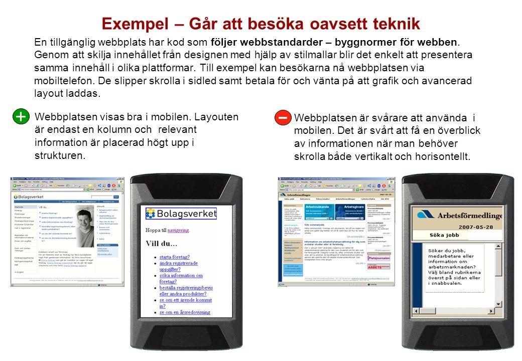 Exempel – Går att besöka oavsett teknik
