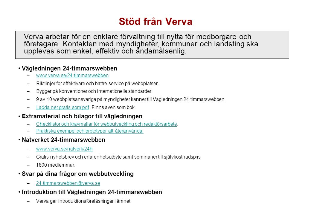 Stöd från Verva