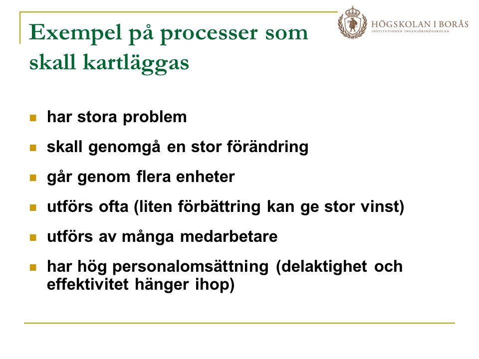 Exempel på processer som skall kartläggas
