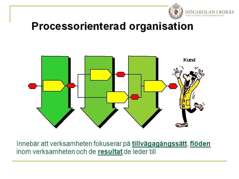 Innebär att verksamheten fokuserar på tillvägagångssätt, flöden inom verksamheten och de resultat de leder till