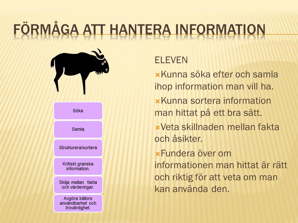 ELEVEN Kunna söka efter och samla ihop information man vill ha. Kunna sortera information man hittat på ett bra sätt.