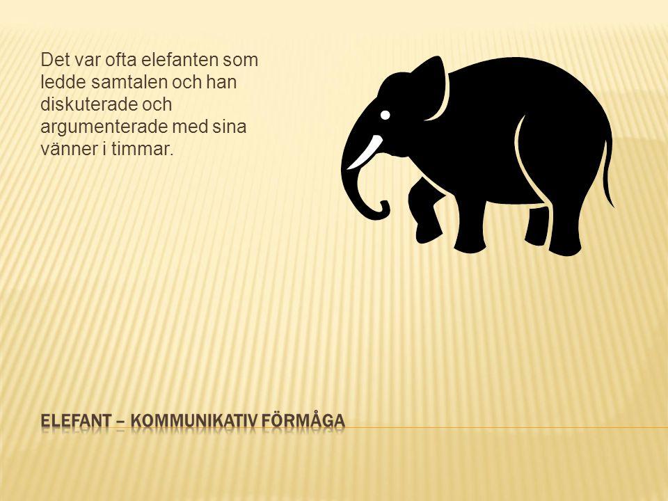 Det var ofta elefanten som ledde samtalen och han diskuterade och argumenterade med sina vänner i timmar.