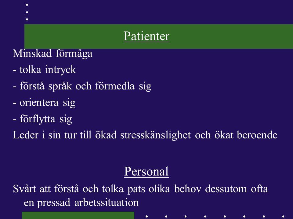 Patienter Personal Minskad förmåga - tolka intryck