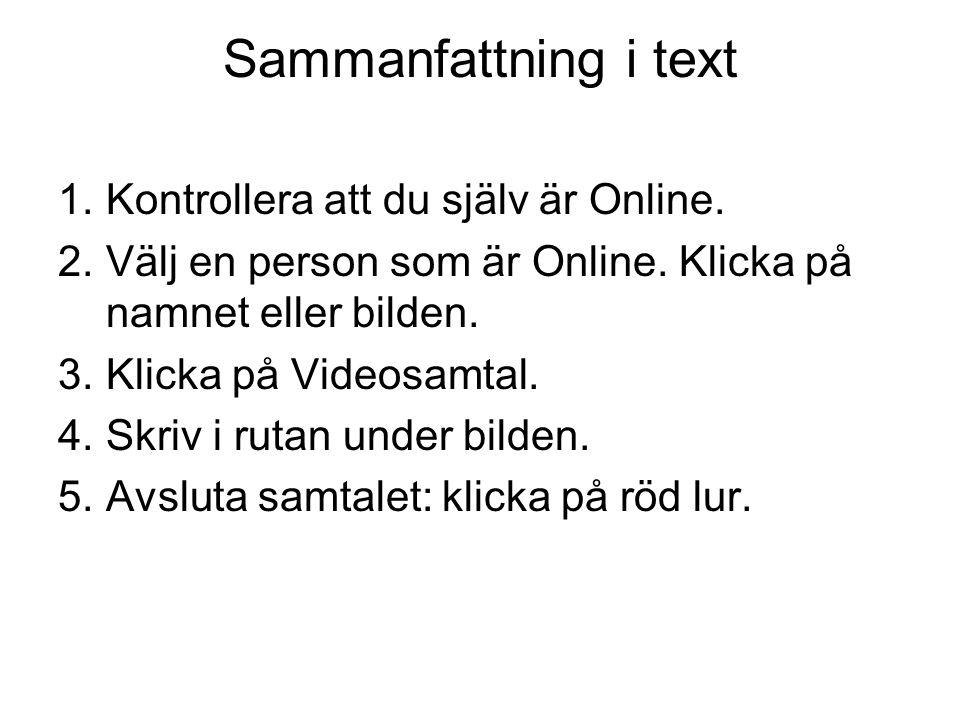 Sammanfattning i text Kontrollera att du själv är Online.