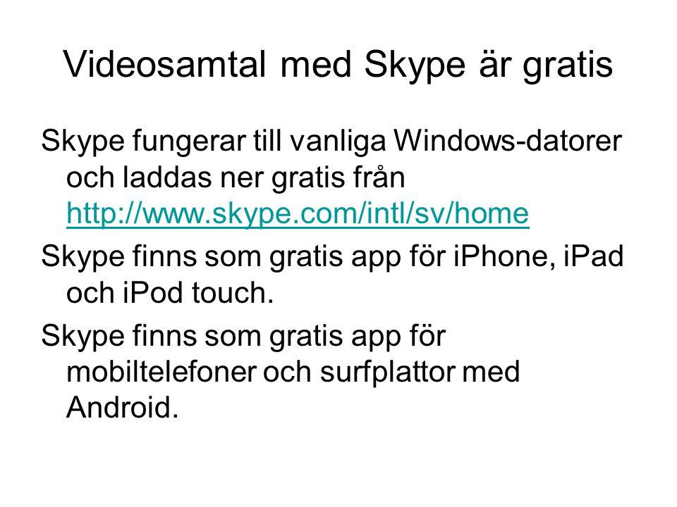 Videosamtal med Skype är gratis
