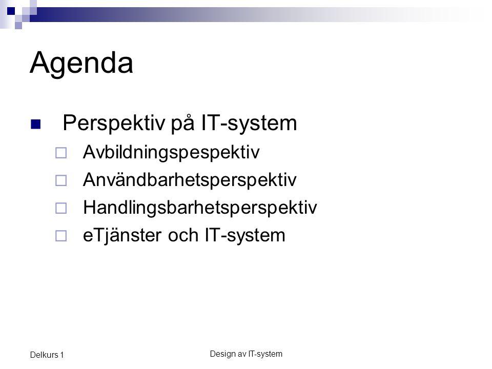 Agenda Perspektiv på IT-system Avbildningspespektiv