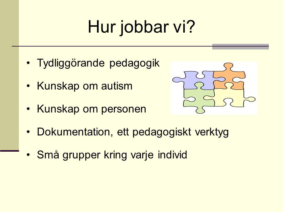 Hur jobbar vi Tydliggörande pedagogik Kunskap om autism