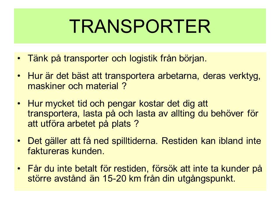 TRANSPORTER Tänk på transporter och logistik från början.