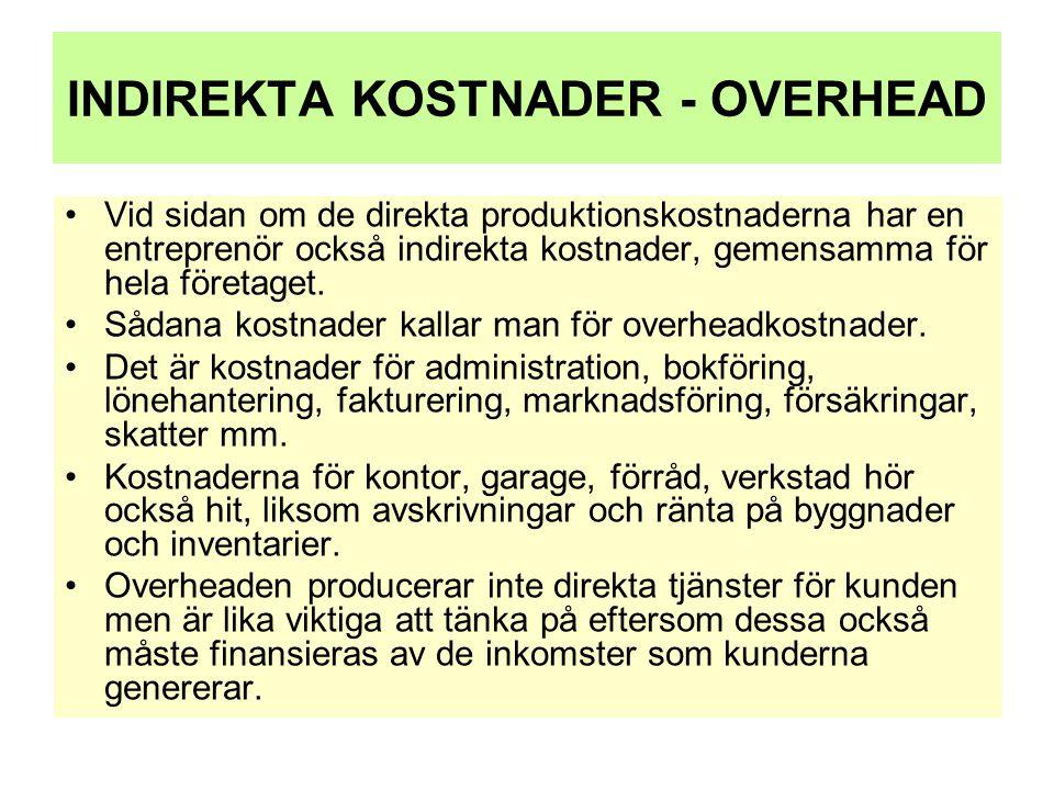 INDIREKTA KOSTNADER - OVERHEAD