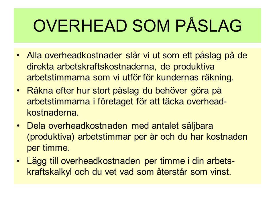 OVERHEAD SOM PÅSLAG