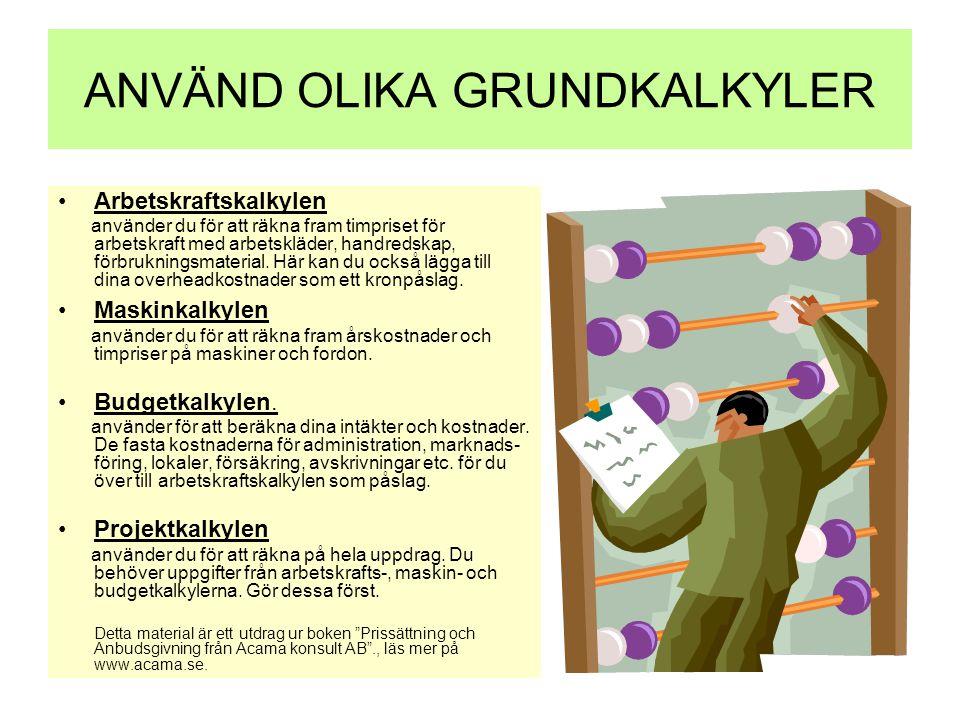 ANVÄND OLIKA GRUNDKALKYLER